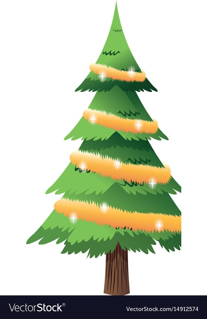 Cartoon christmas tree lights and wreath vector image