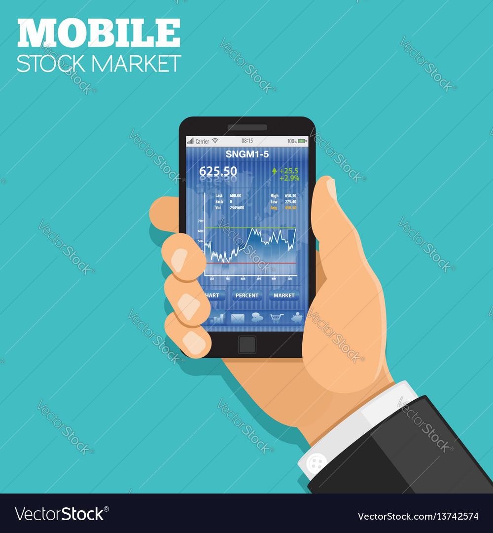 Mobile stock market vector image