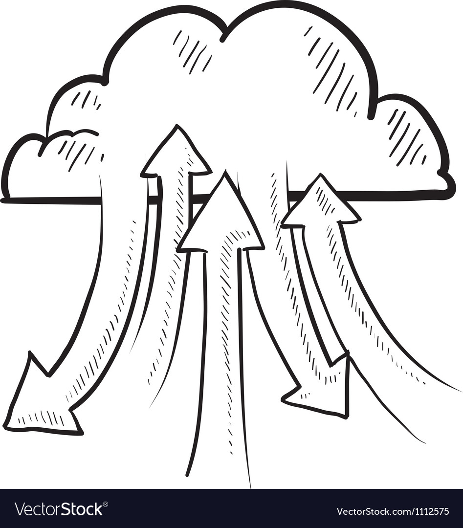 Doodle the cloud upload download vector image