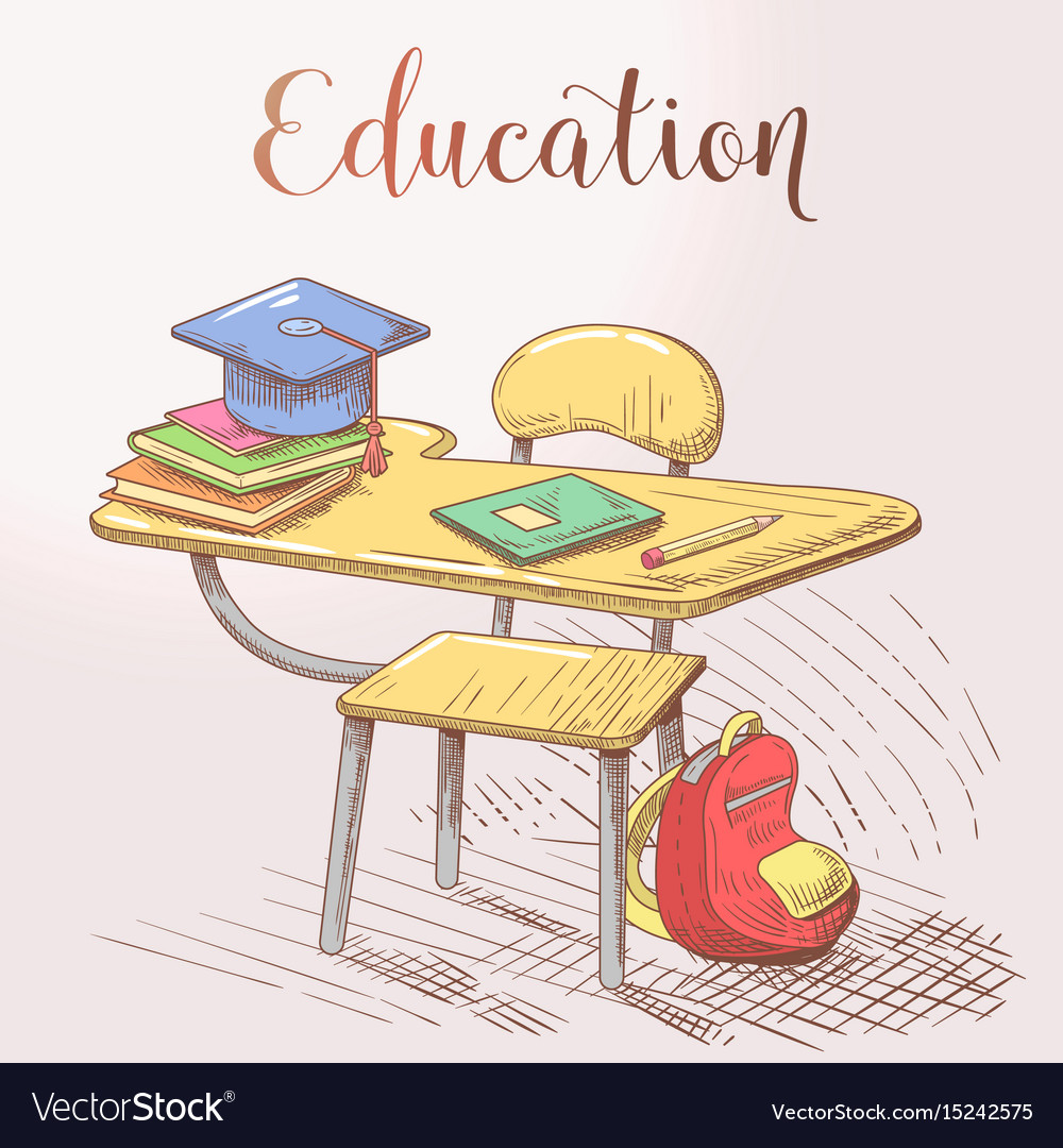 Hand drawn education concept with desk and books vector image