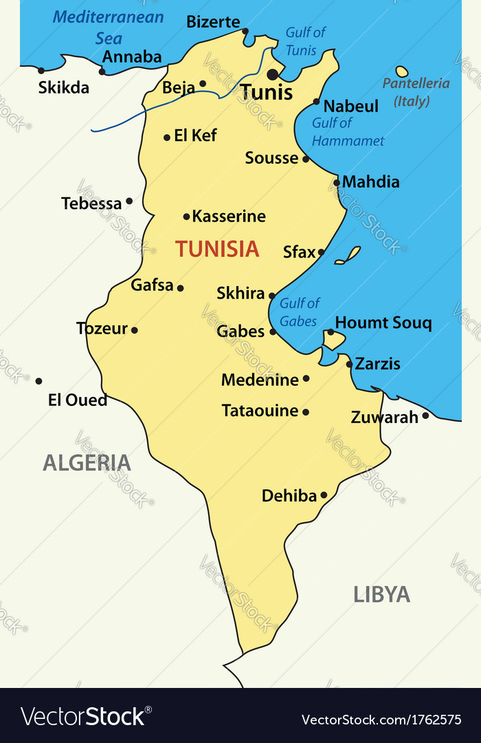 Map of Tunisia Royalty Free Vector Image VectorStock