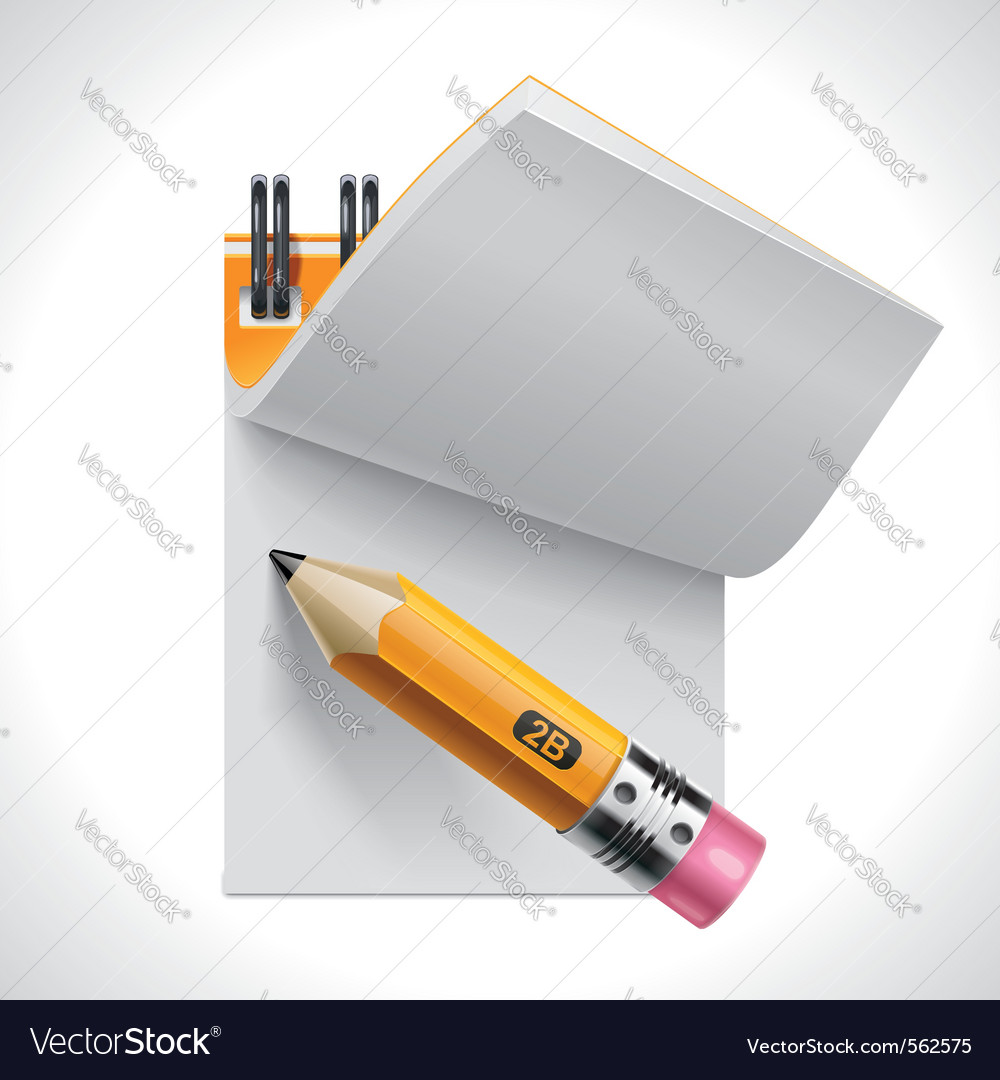 Open notepad with pencil xxl icon vector image