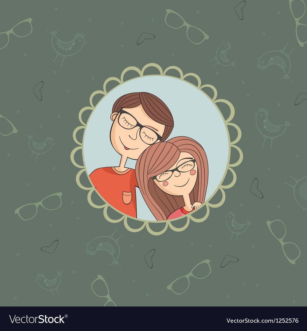 Enamoured couple of boy and girl in eyeglasses vector image