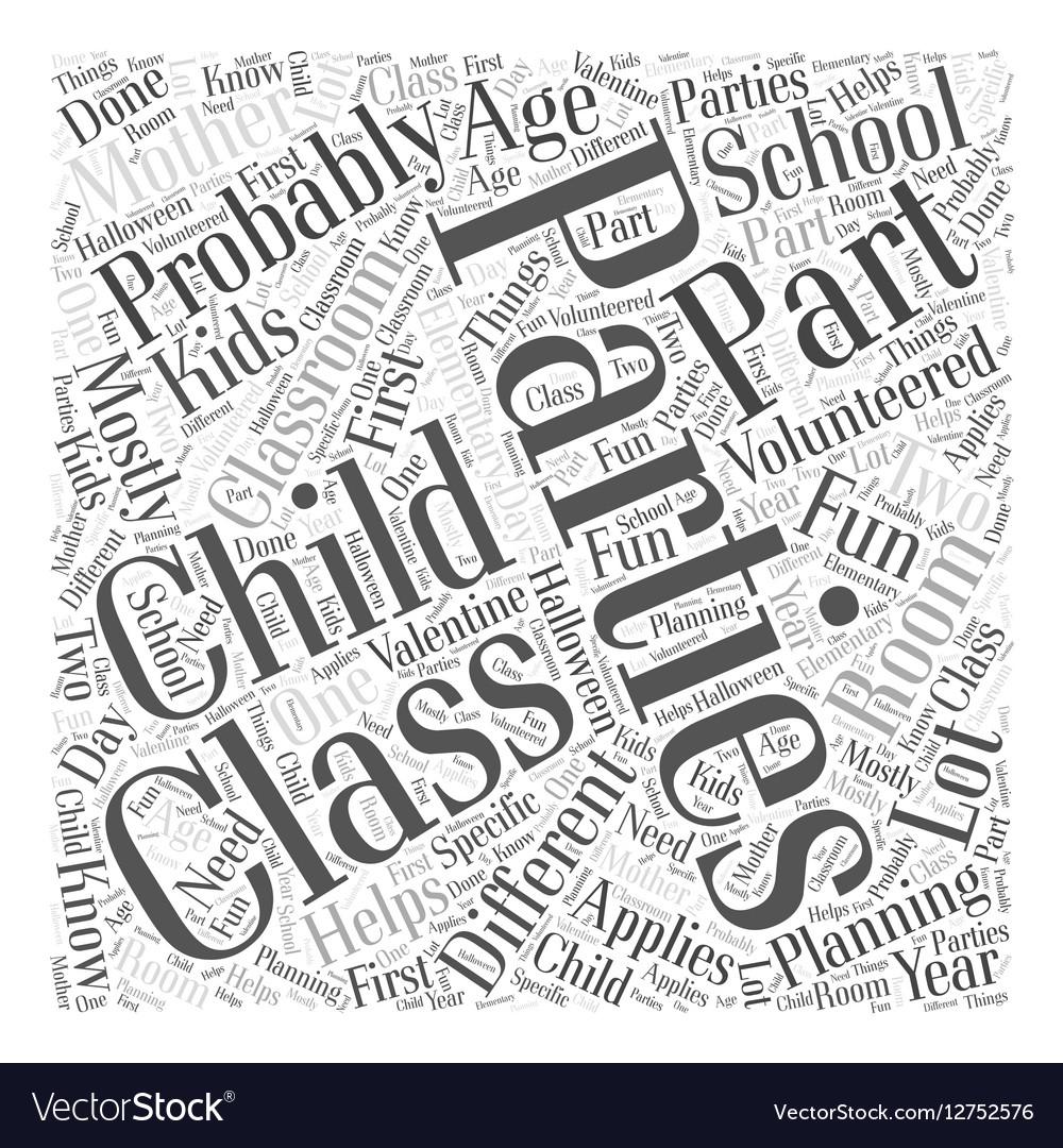 Class parties Word Cloud Concept vector image