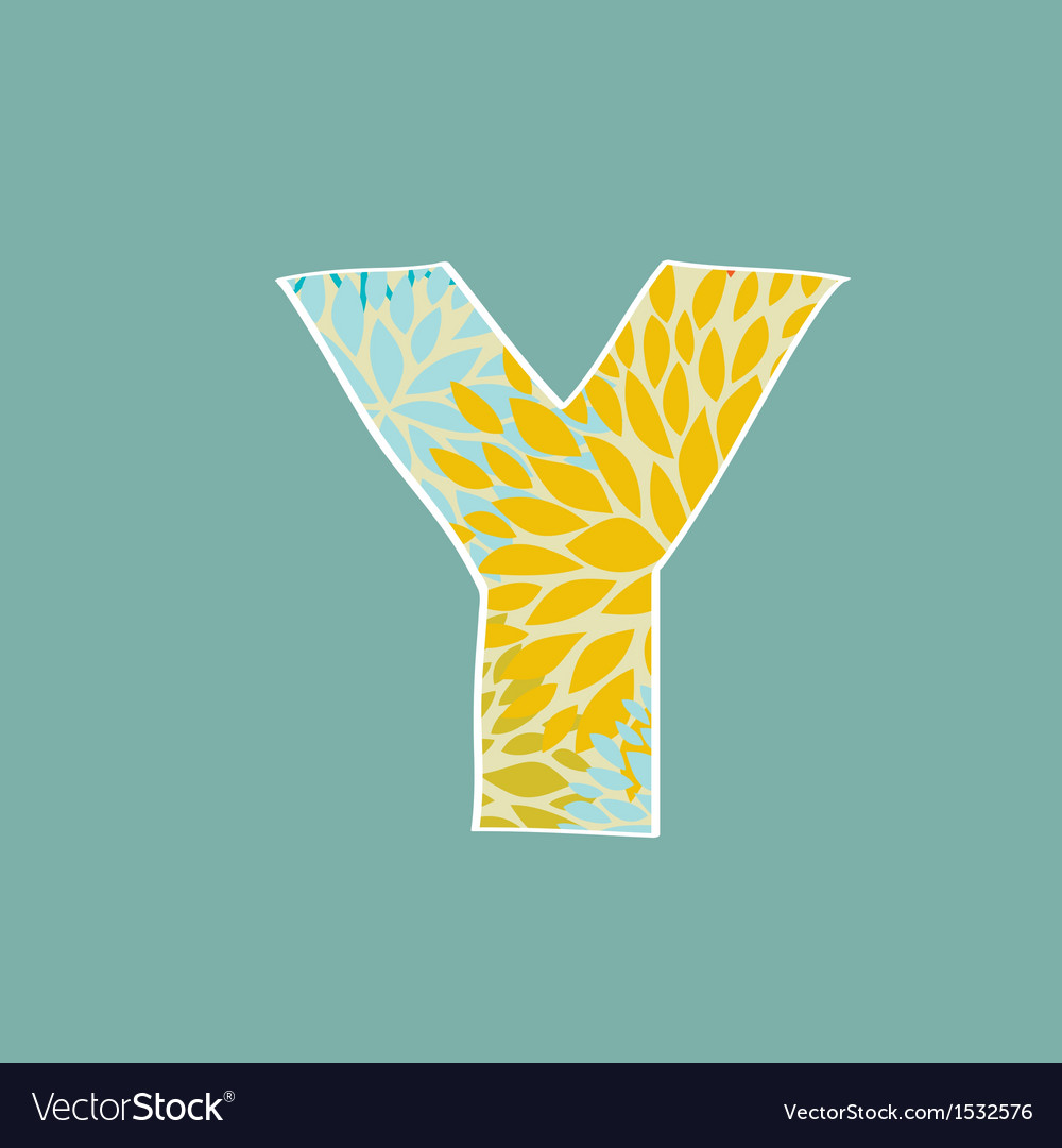 Grunge Letter Green Eco Style Font Symbol Y vector image