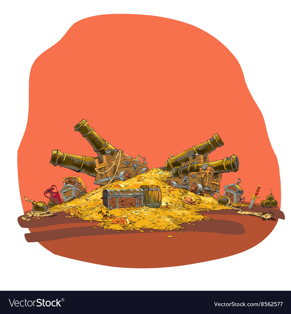 Treasure of gold coins and pirate cannon vector image