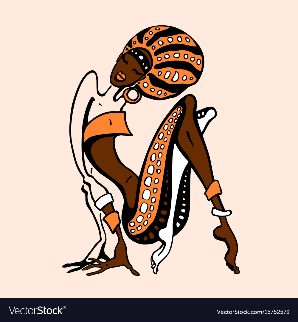 African woman in ethnic style vector image