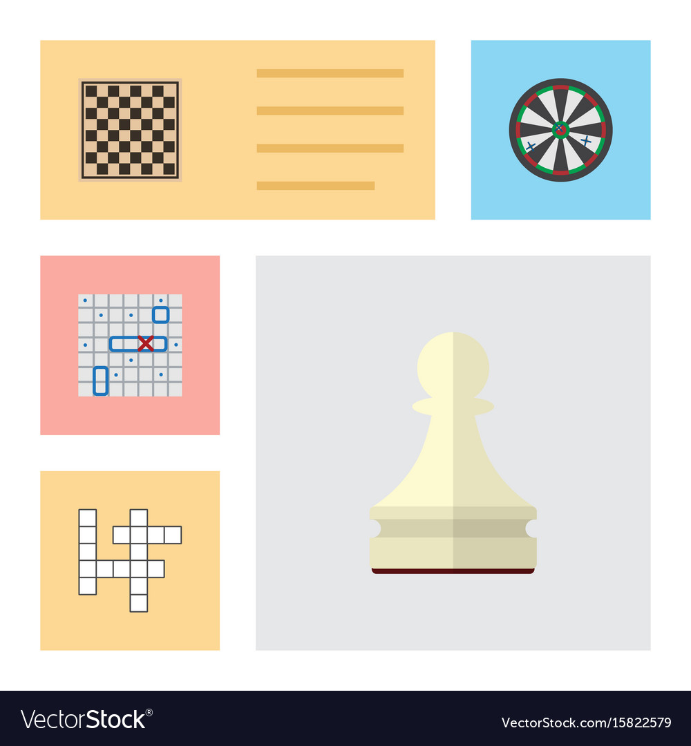 Flat icon games set of pawn guess chess table vector image