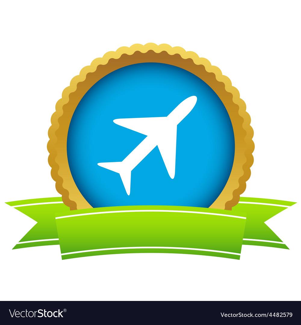 Gold plane logo vector image