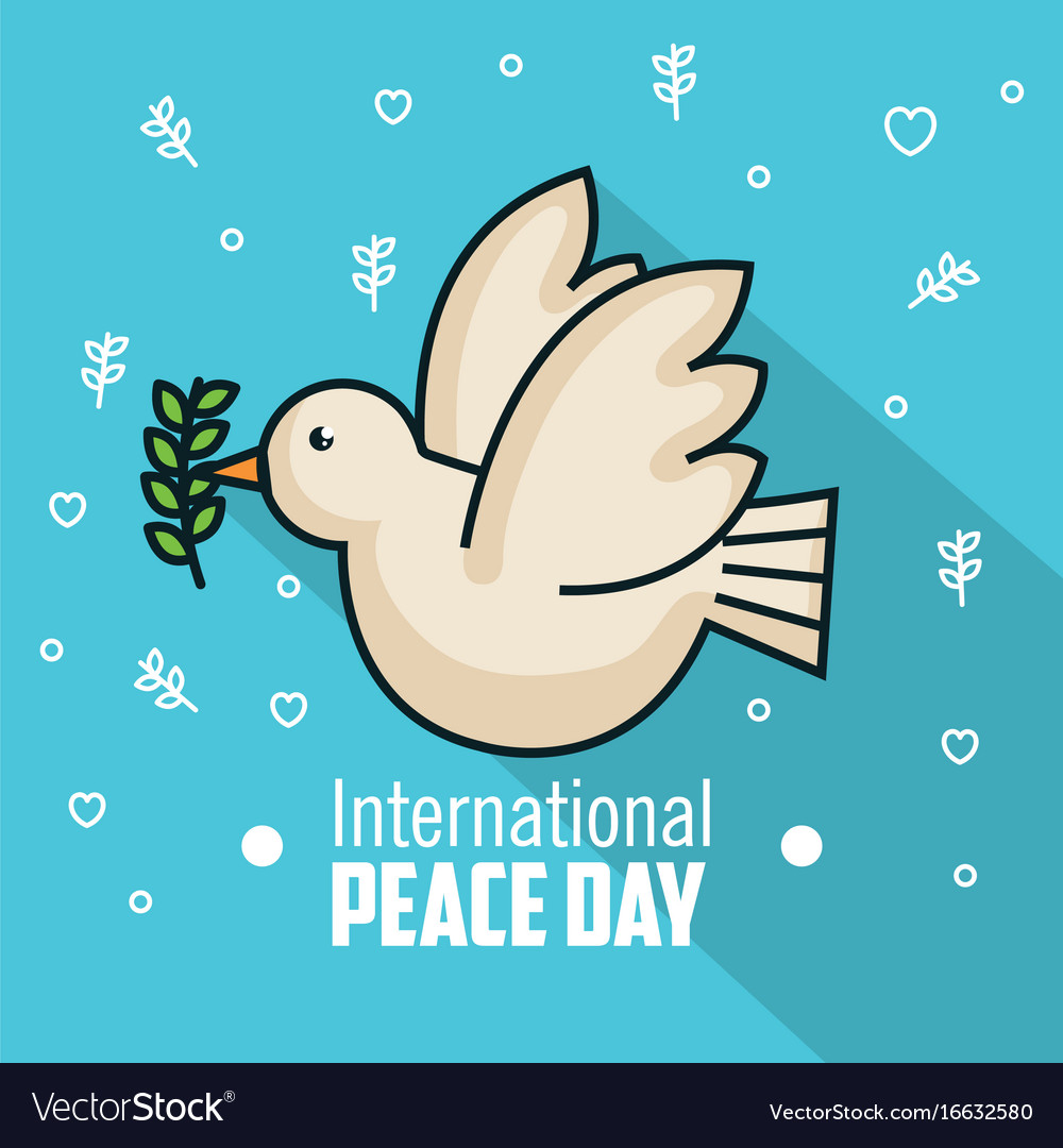 International peace day pigeon with branch olive vector image
