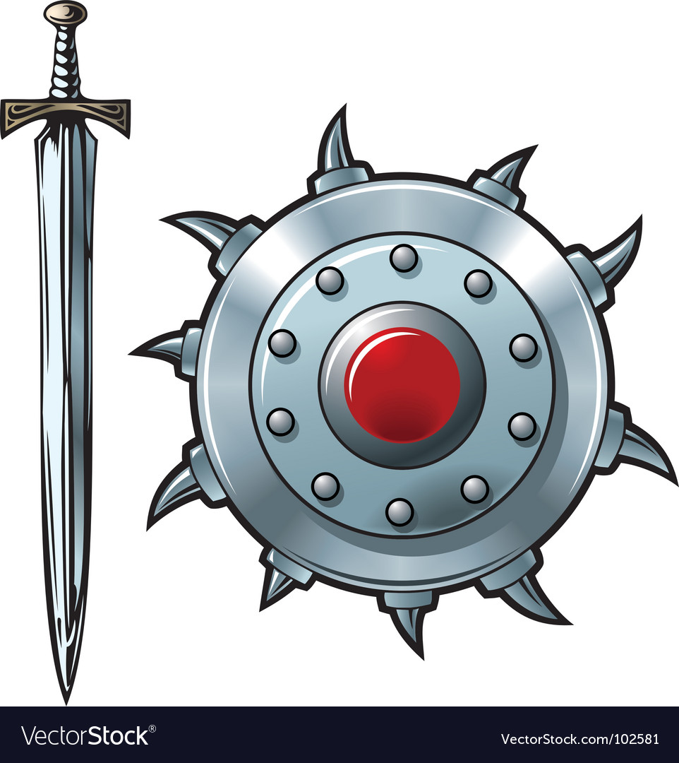 Sword and shield vector image