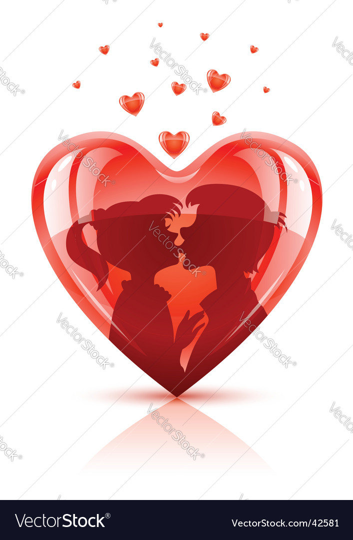 Lovers kissing vector image