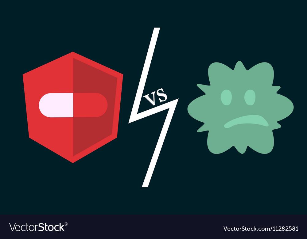 Antibiotics vs bacteria vector image