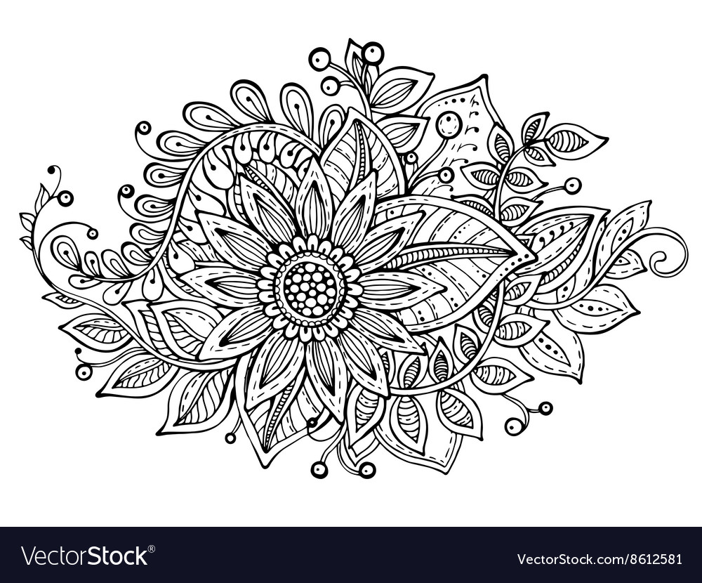 with hand drawn doodle fancy flowers bouquet vector image