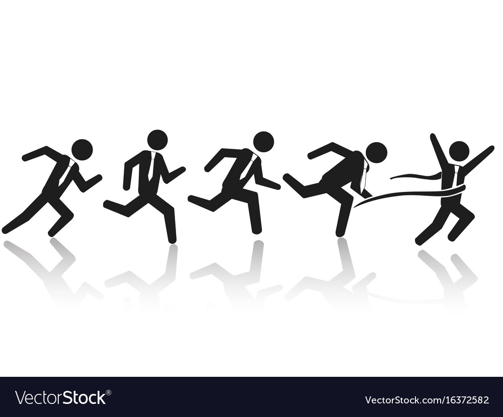 Businessman running race vector image