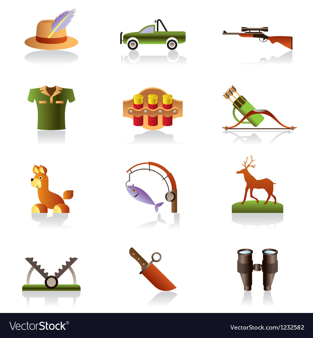 Hunting accessories and symbols vector image