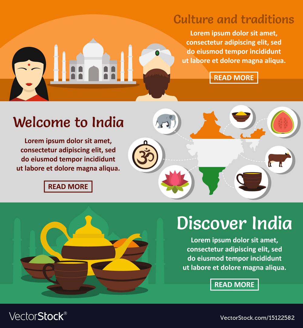 India travel banner horizontal set flat style vector image