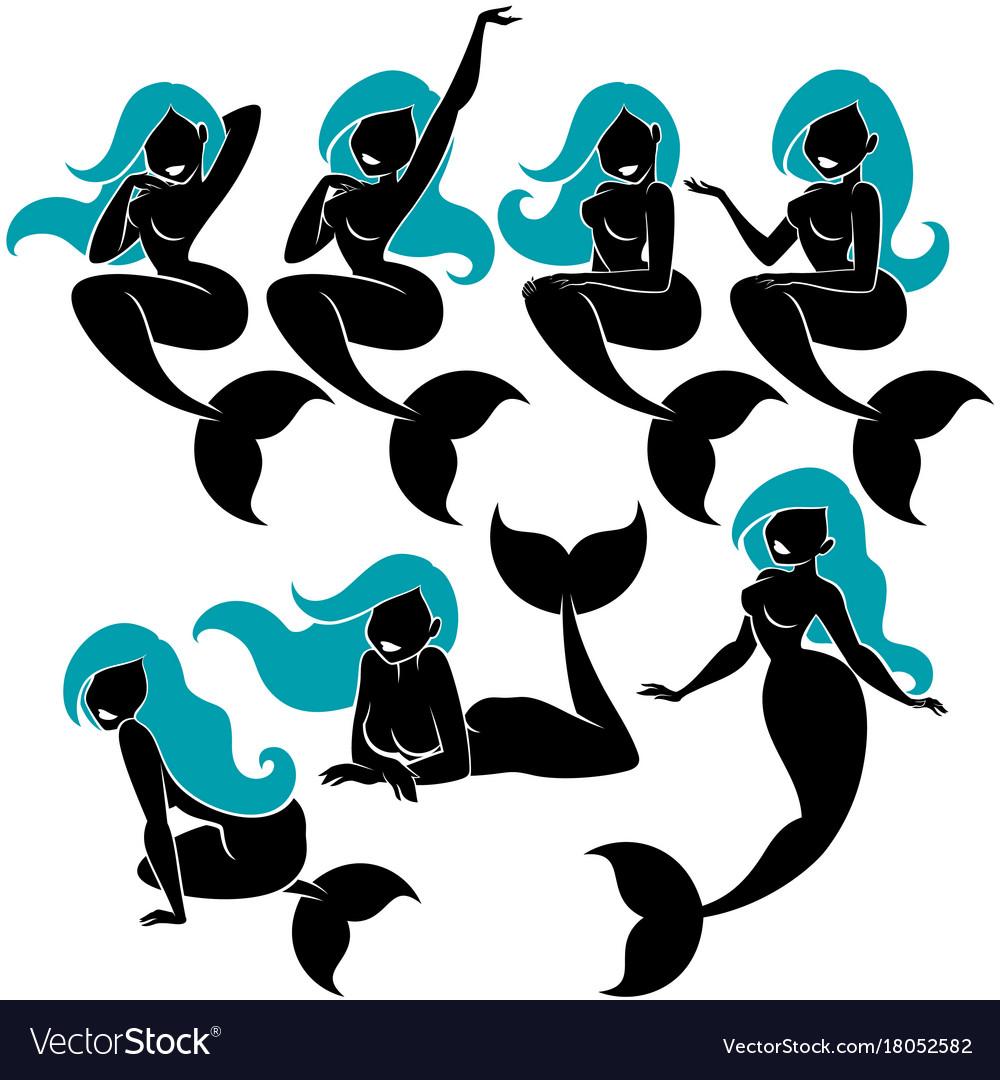 Mermaid silhouette set vector image