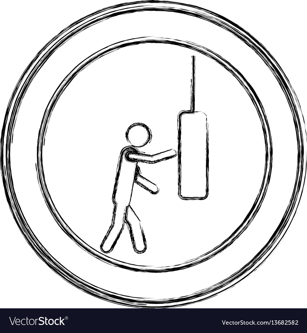 Monochrome sketch of man knocking punching bag in vector image