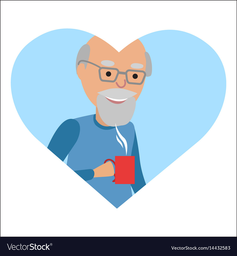 Senior man with cup in her hand drinking hot vector image