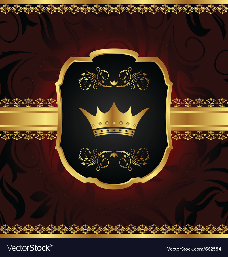 Golden vintage frame with crown - vector image
