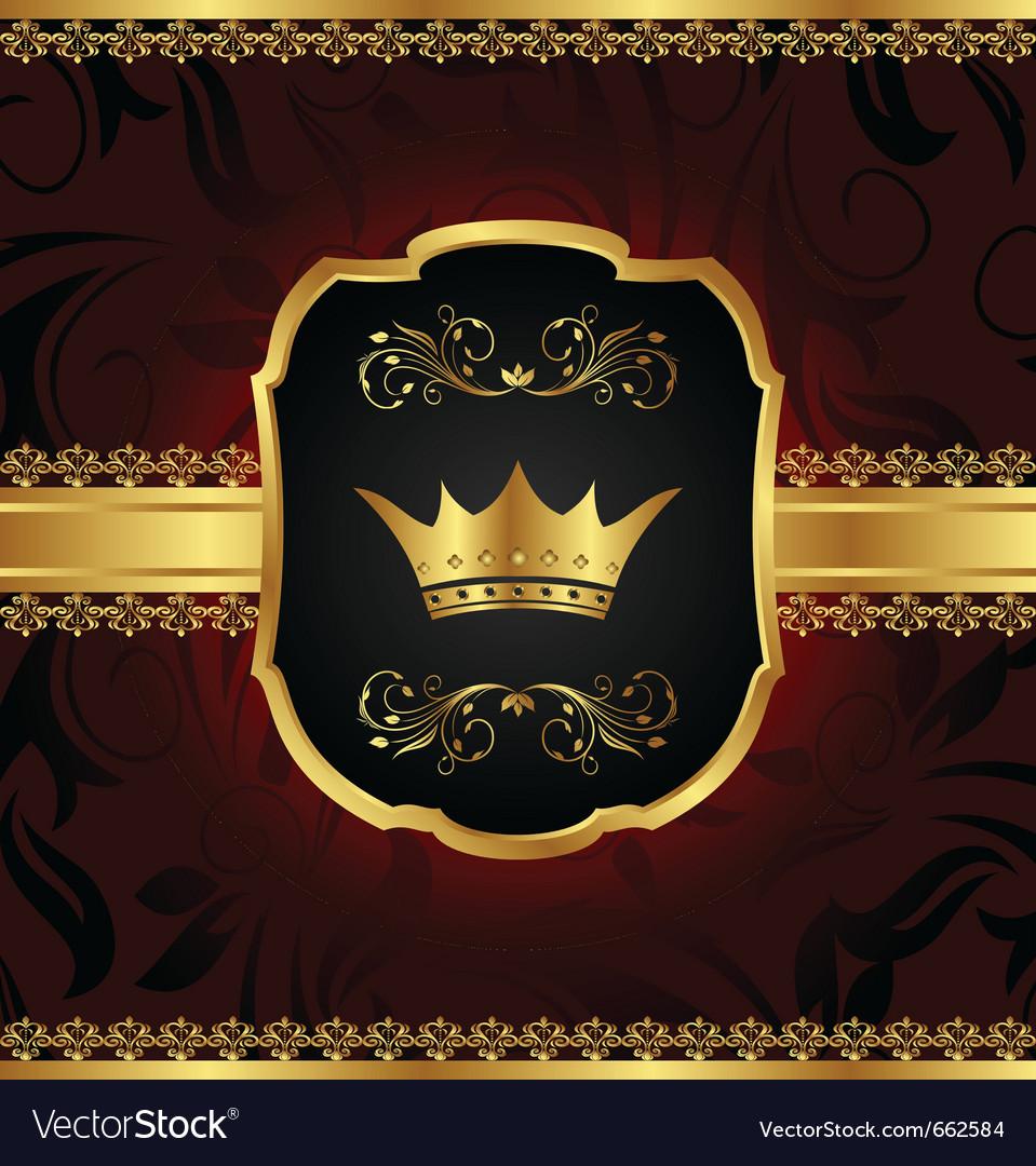 Golden vintage frame with crown vector image