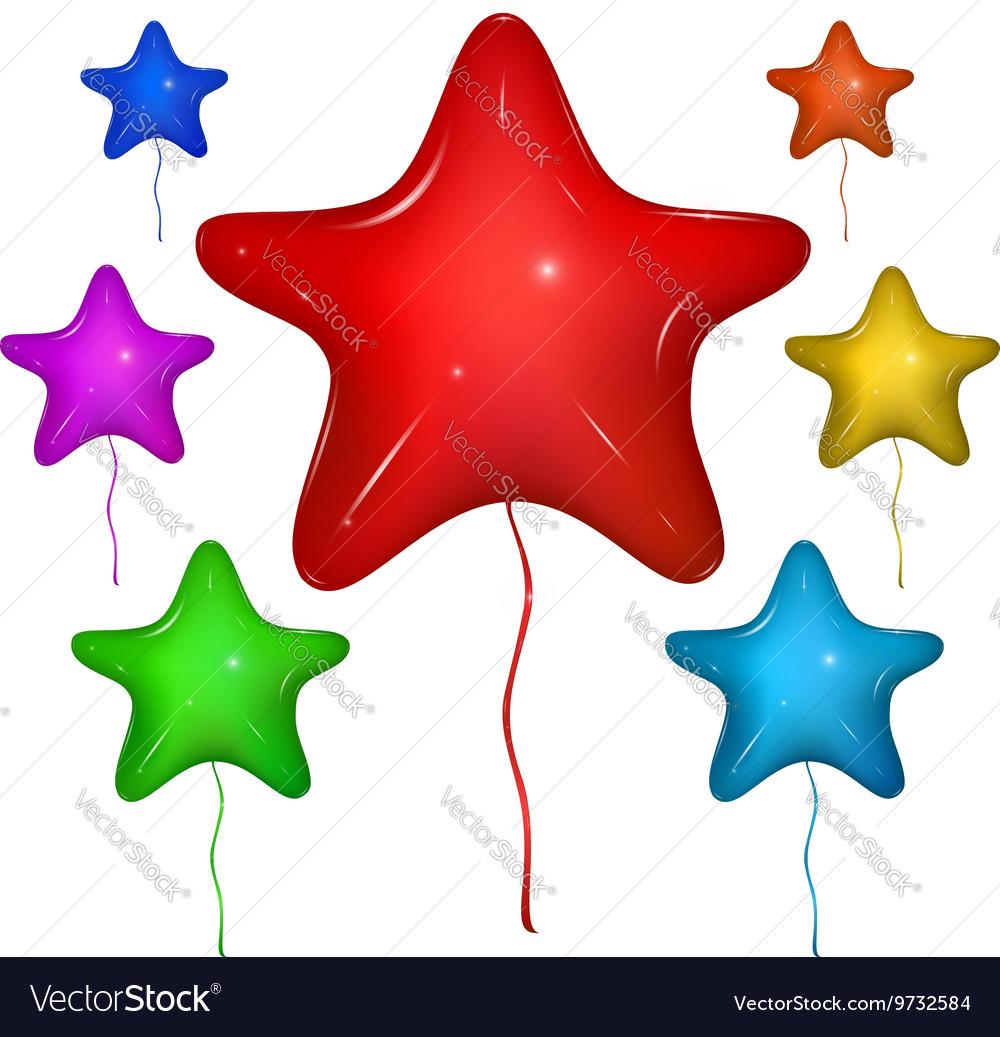 Star Balloon Color set vector image