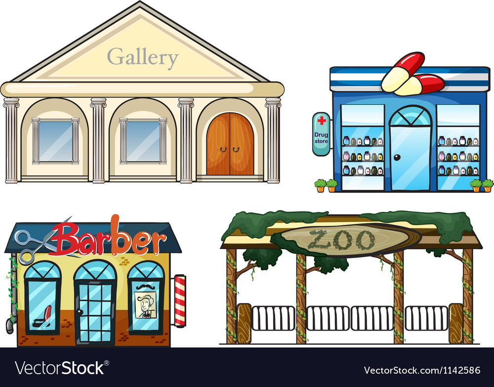 A gallery drug store barber shop and zoo vector image