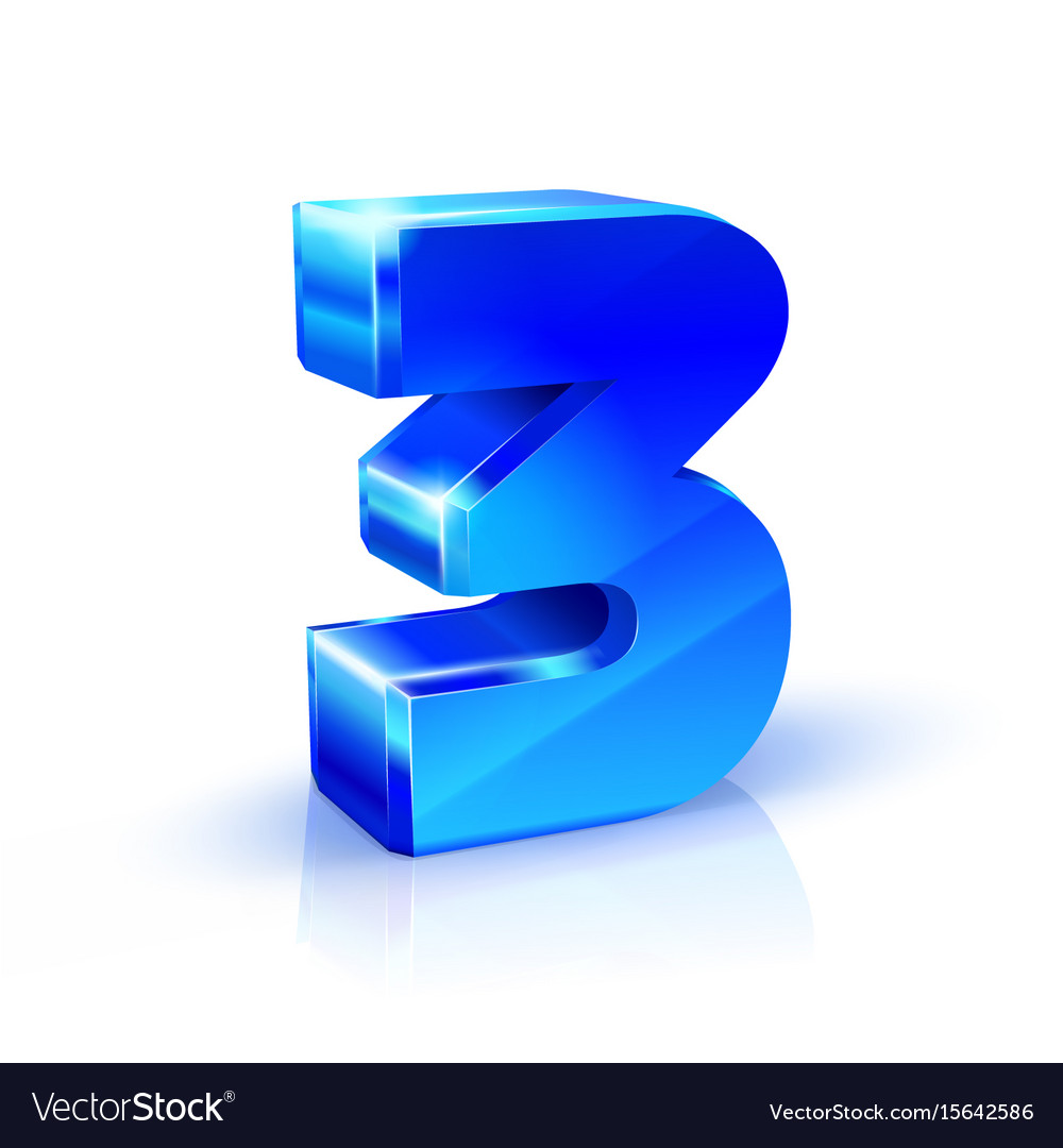 Glossy blue three 3 number 3d on vector image