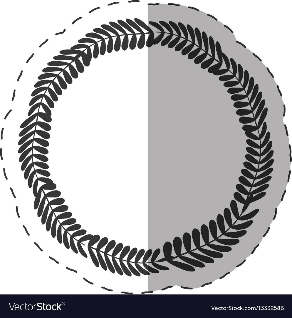 Laurel crown round label decoration thin line vector image