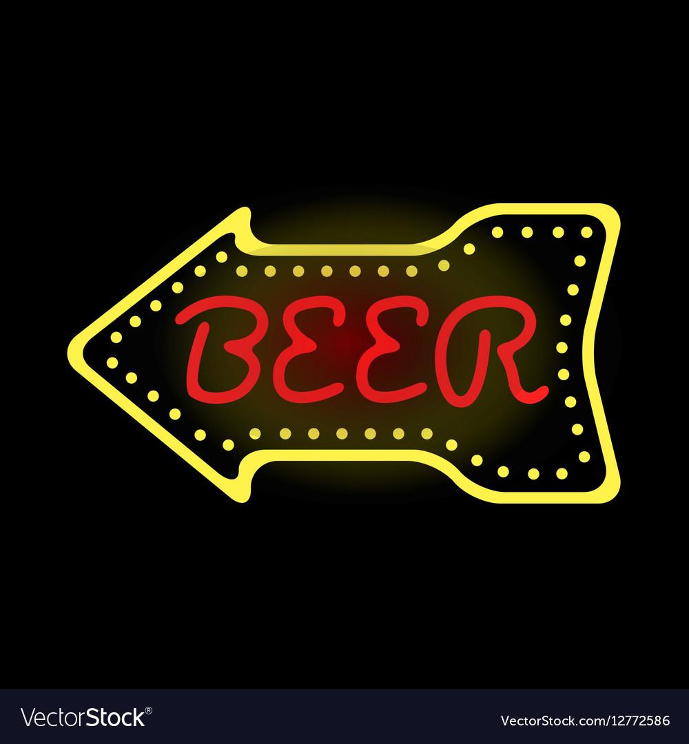 Light neon beer label vector image