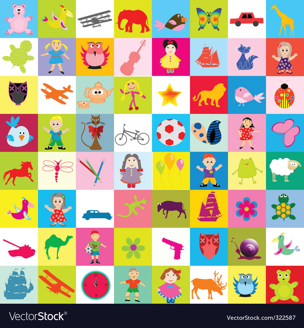 Kid elements pattern vector image