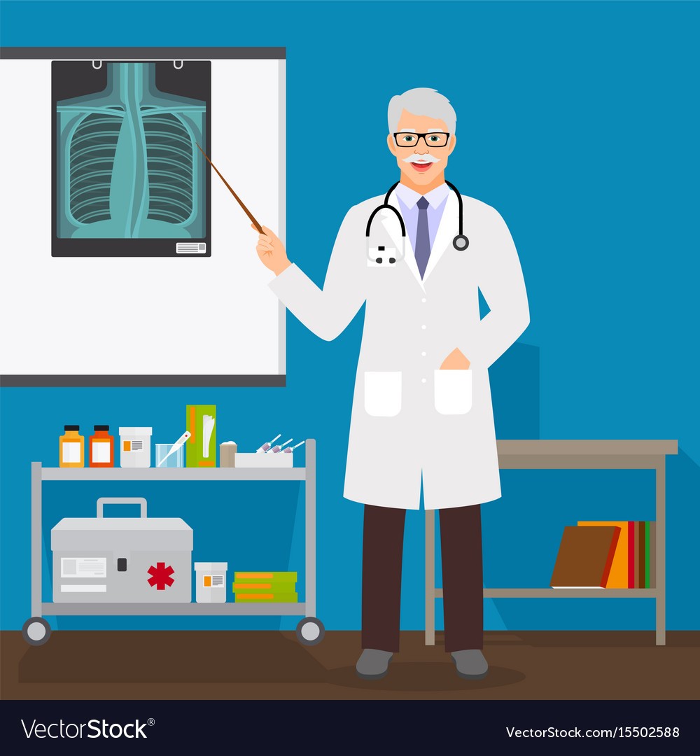 Doctor man with x-ray on stand vector image