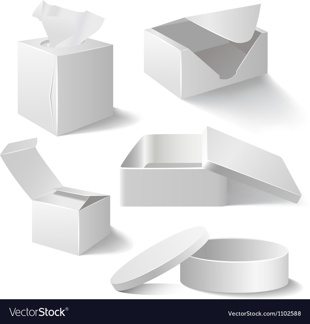White boxes set isolated on white vector image
