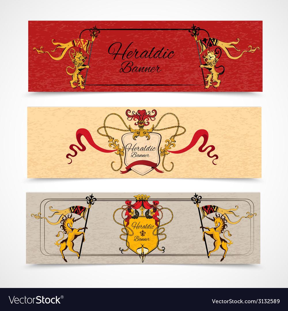 Heraldic banners set vector image