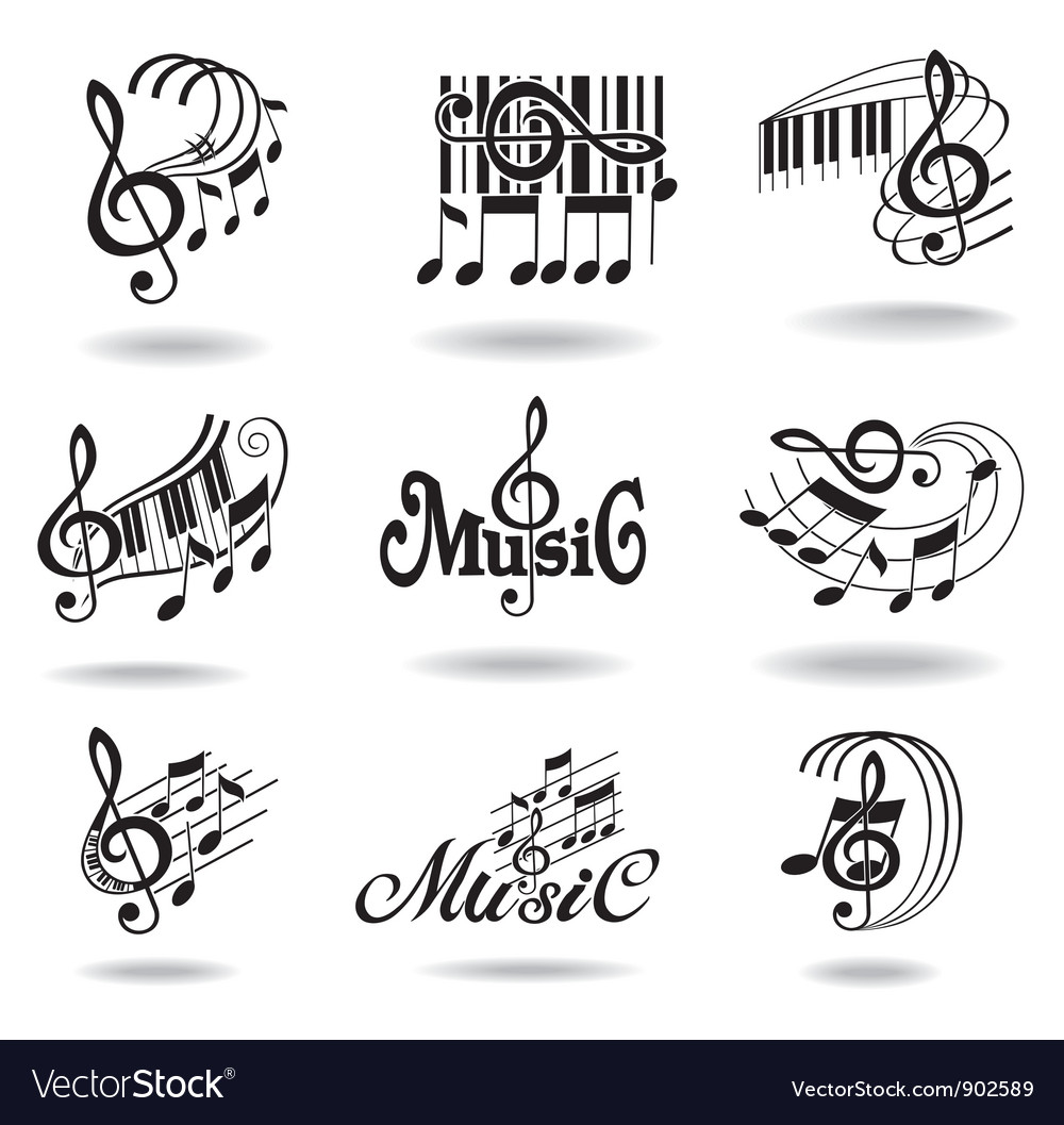 music notes set of music design elements or icons vector image