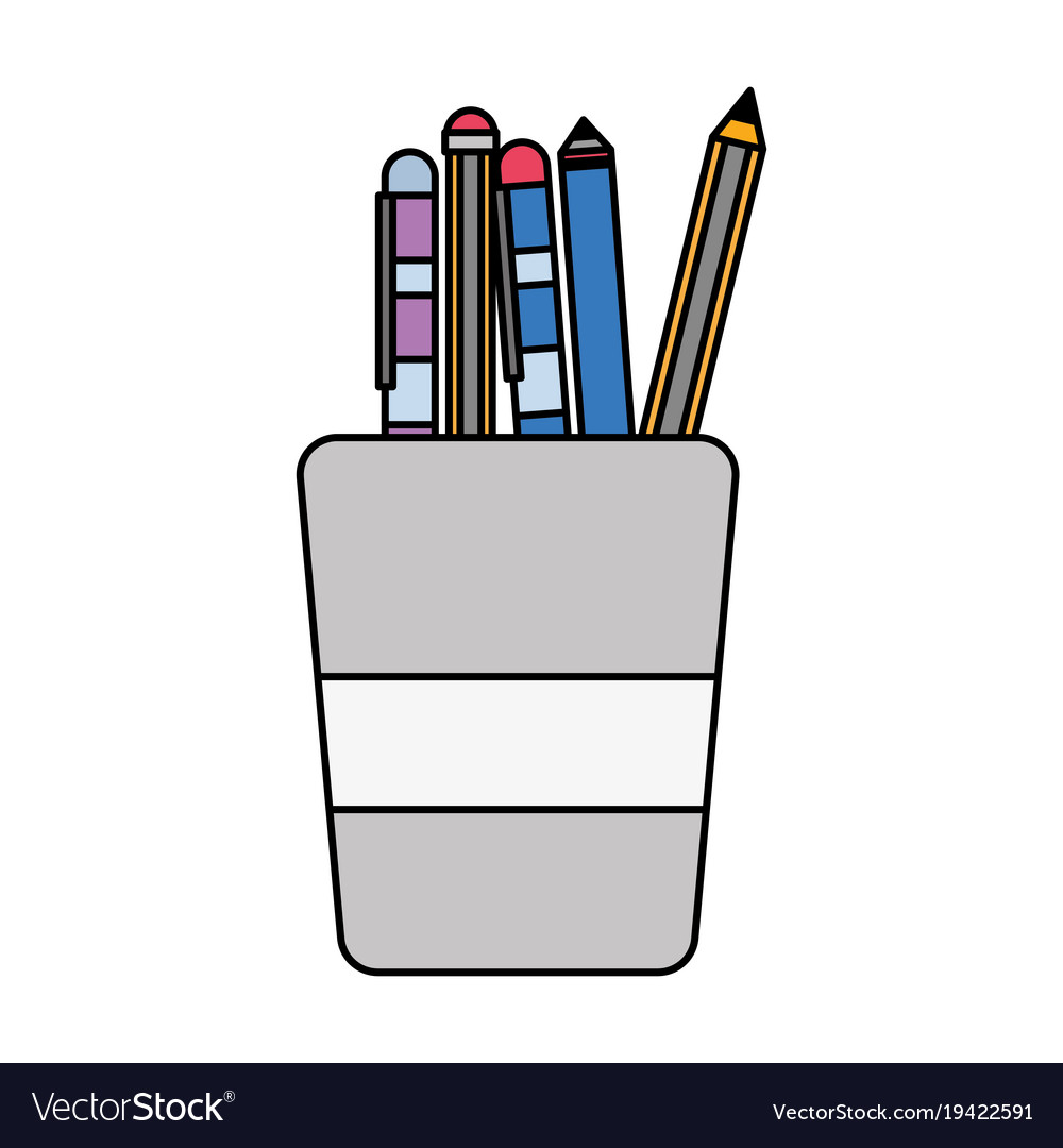 Colorful school utensils inside cup tool design vector image voltagebd Images