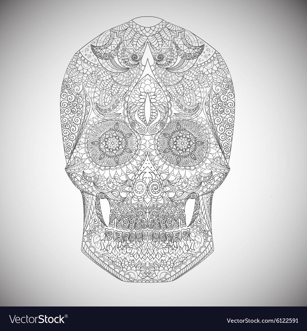 Day Of The Dead Hand Drawn Skull ornamentrd vector image