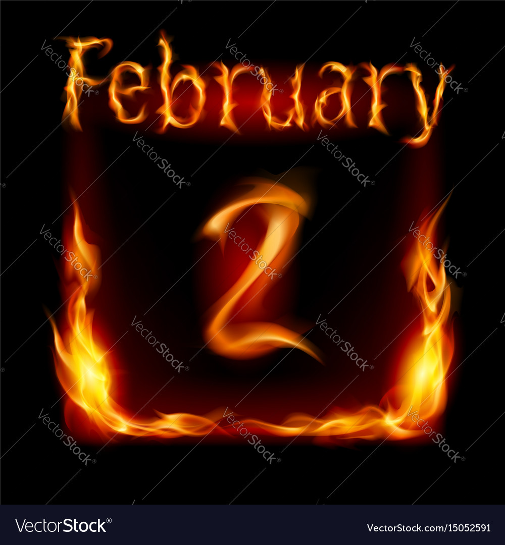 Second february in calendar of fire icon on black vector image