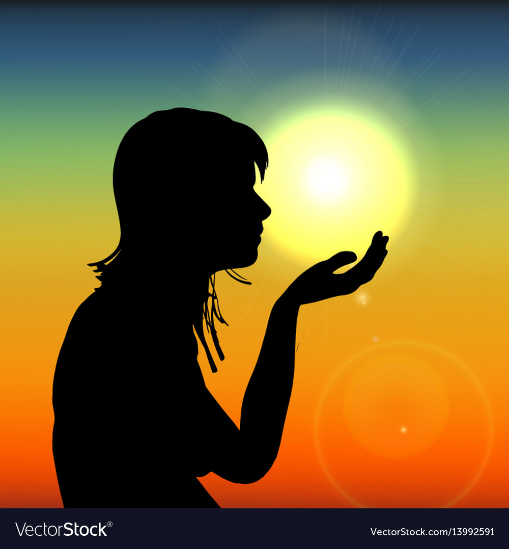 Silhouette woman on sunset holding sun in hand on vector image