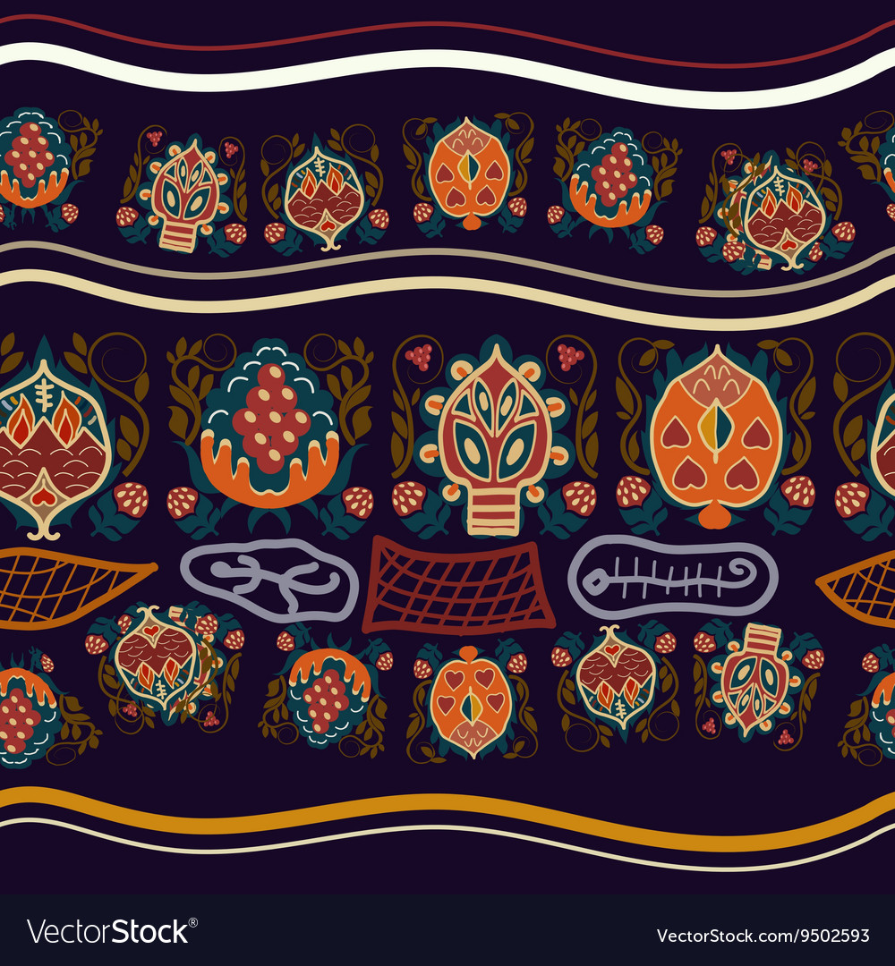 Seamless ethnic pattern with fantastic flowers vector image