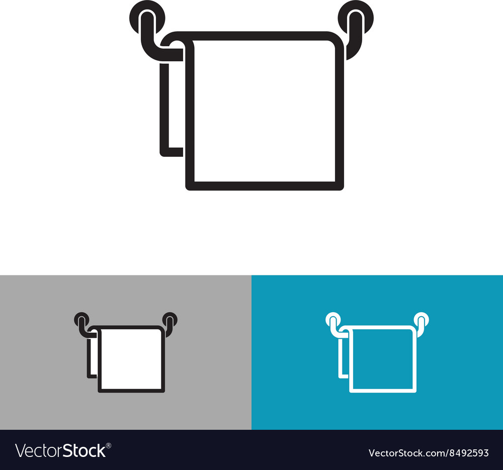 Towel on a hanger black silhouette icon vector image