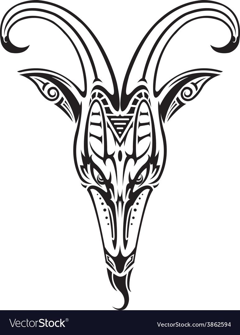Goat head on white vector image