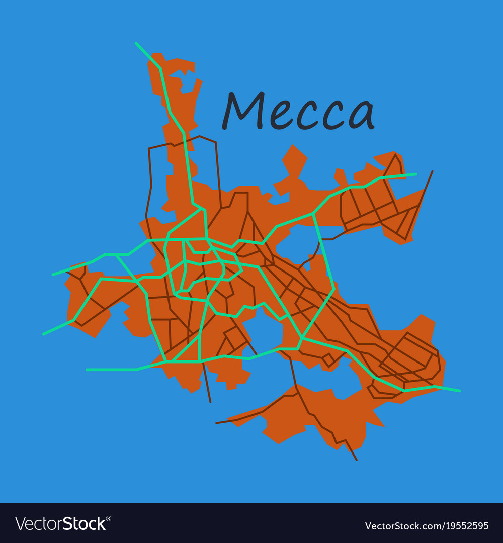 Mecca map saudi arabia flat Royalty Free Vector Image