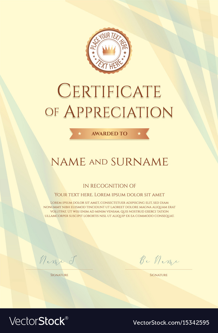 Portrait certificate of appreciation template vector image yadclub Image collections