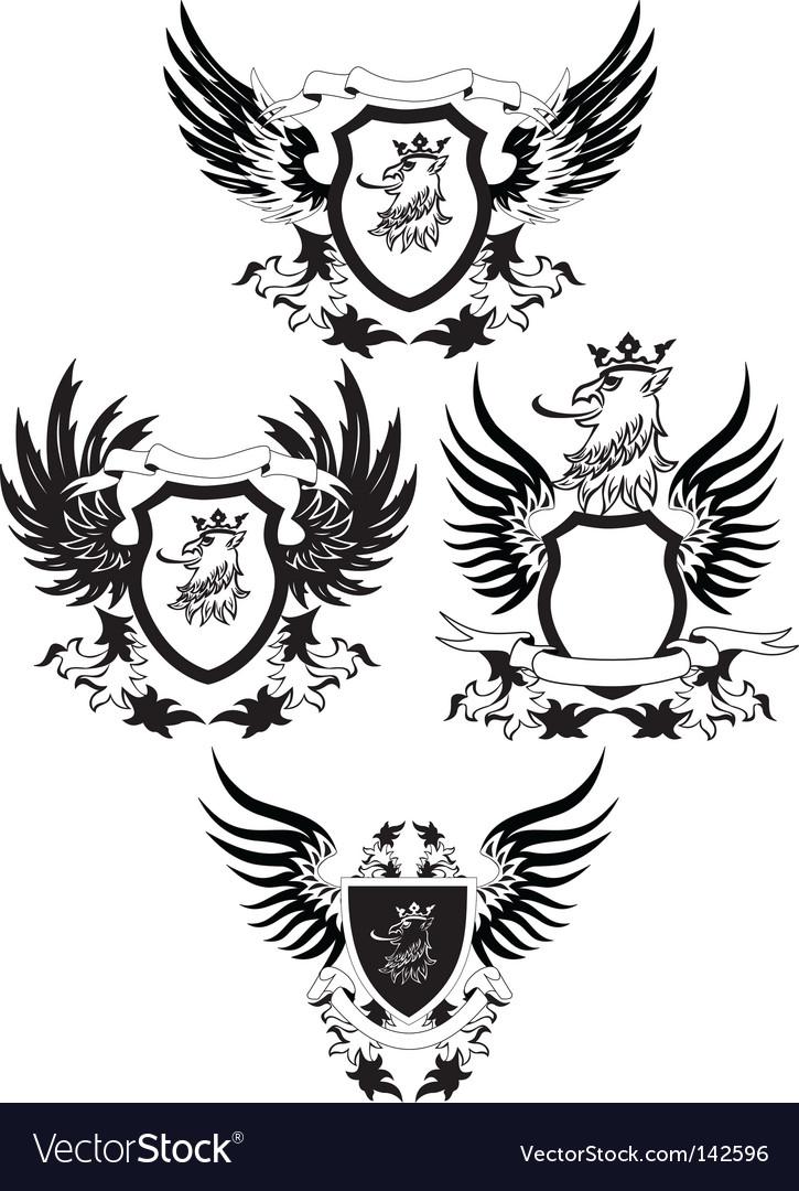 Set of grunge shields vector image