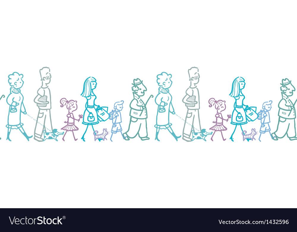 People walking horizontal seamless pattern vector image