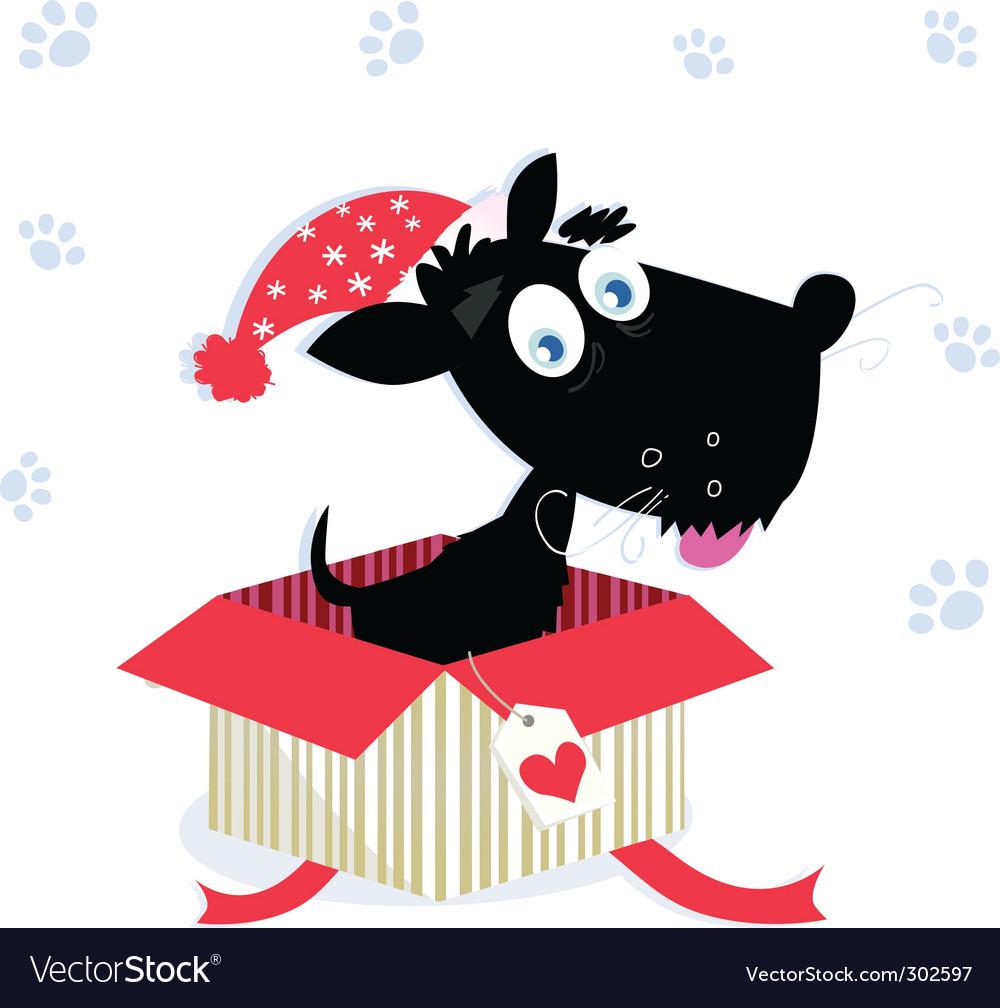 Christmas present with dog vector image