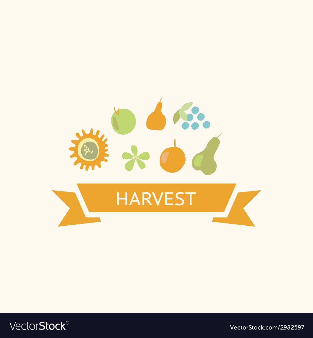 Harvest element set vector image