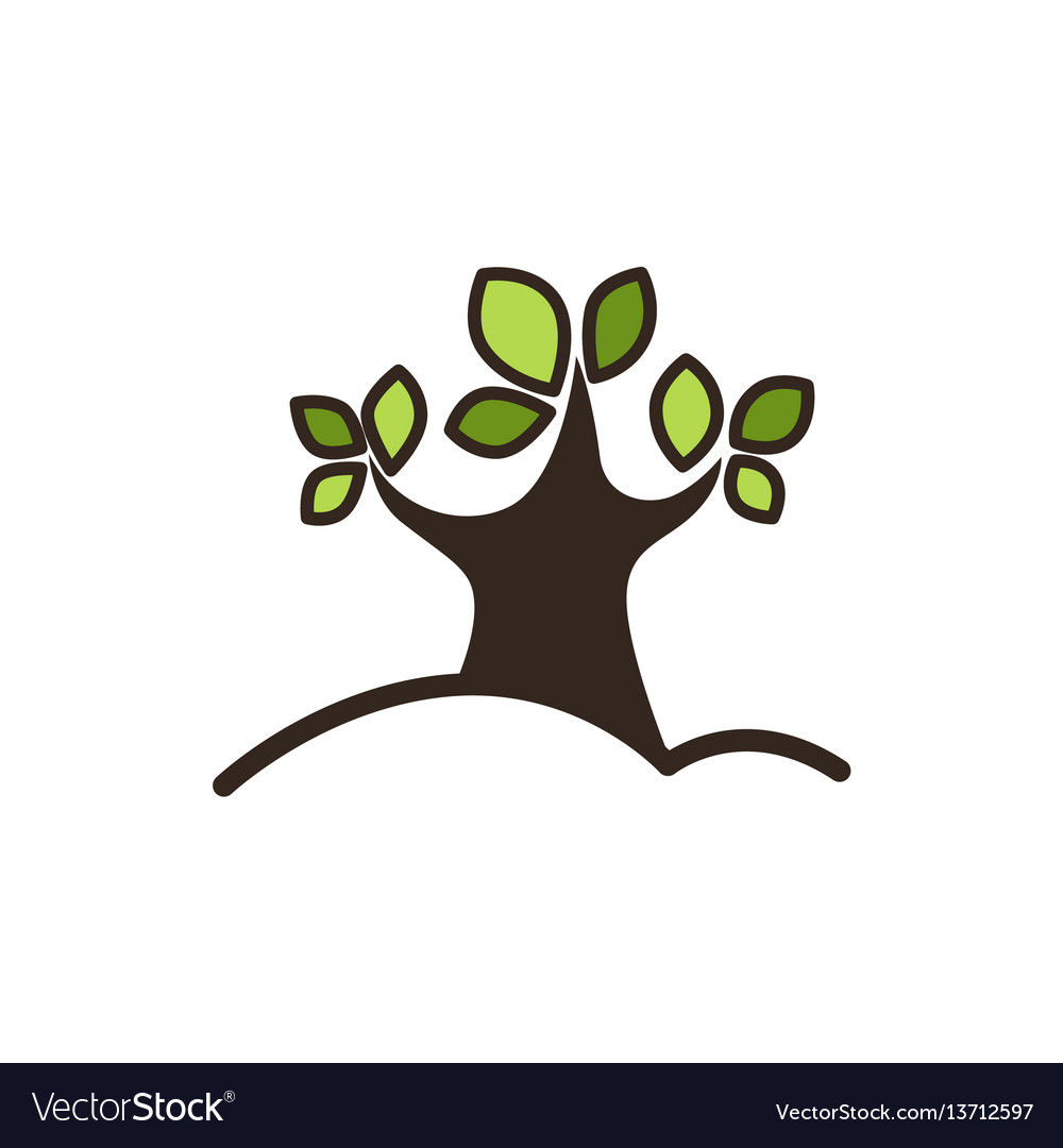 Tree with green leaves graphic close-up icon vector image